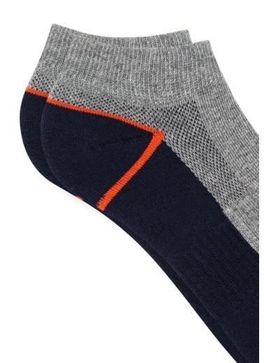 Mavi  Patik Çorap Gri